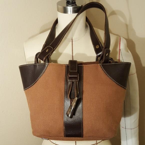 320e3ebd17 Lauren Ralph Lauren Handbags - New! Cute RALPH LAUREN Brown Leather   Cloth  Purse